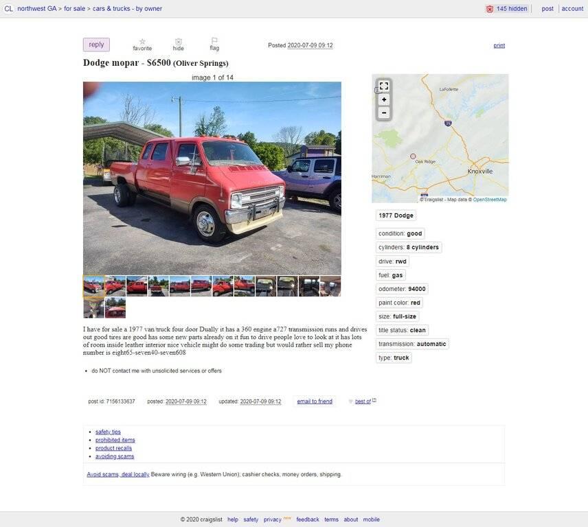 08-04-20.Dodge mopar - $6500 (Oliver Springs).nwga.craigslist.org.jpg