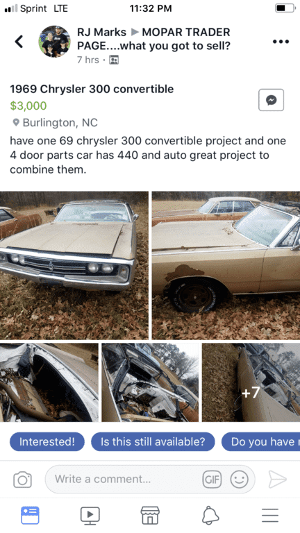 For Sale - Facebook 300 | For C Bodies Only Classic Mopar Forum