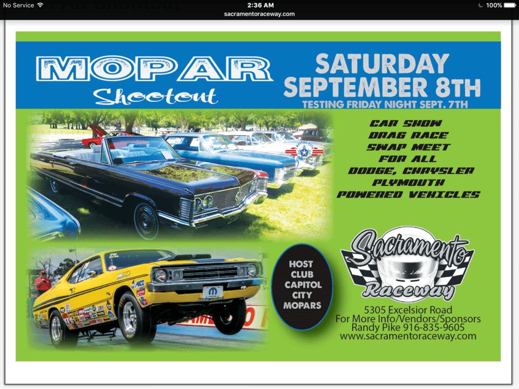 Mopar Shootout Sacramento Raceway CA On September For C - Car show in sacramento this weekend