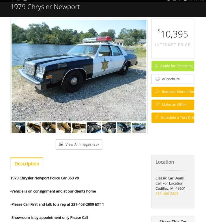 For Sale - 79 Newport Cop Car