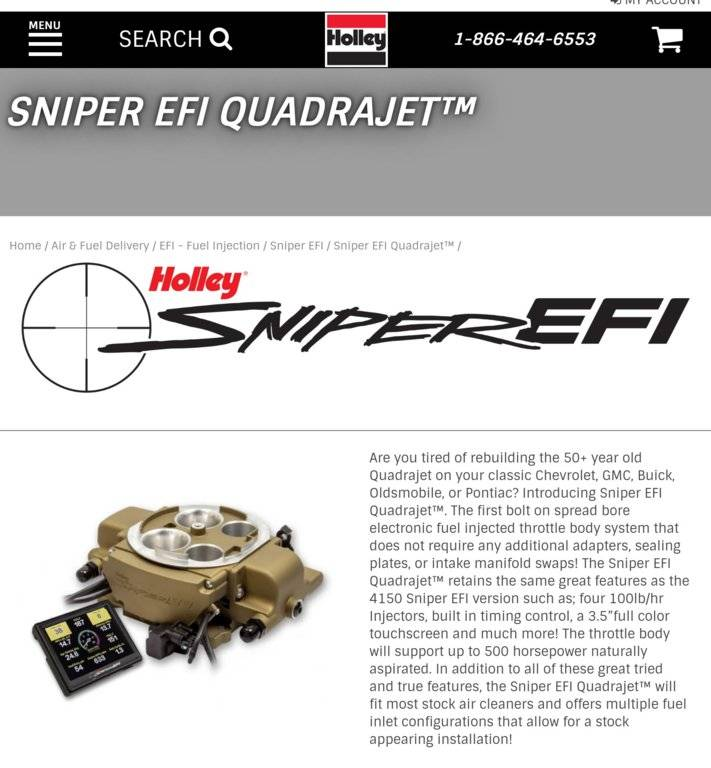 Holley Sniper EFI for BBD carbs! | For C Bodies Only Classic Mopar Forum